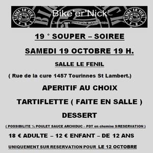 19ème Souper/Soirée ASBL Bike'er'Nick