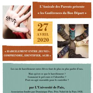 ANNULÉ - Conférence sur le thème du Harcèlement entre jeunes